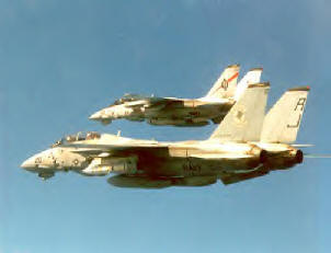 An F-14 from the VF-41 Black Aces forms up with a Tophatter